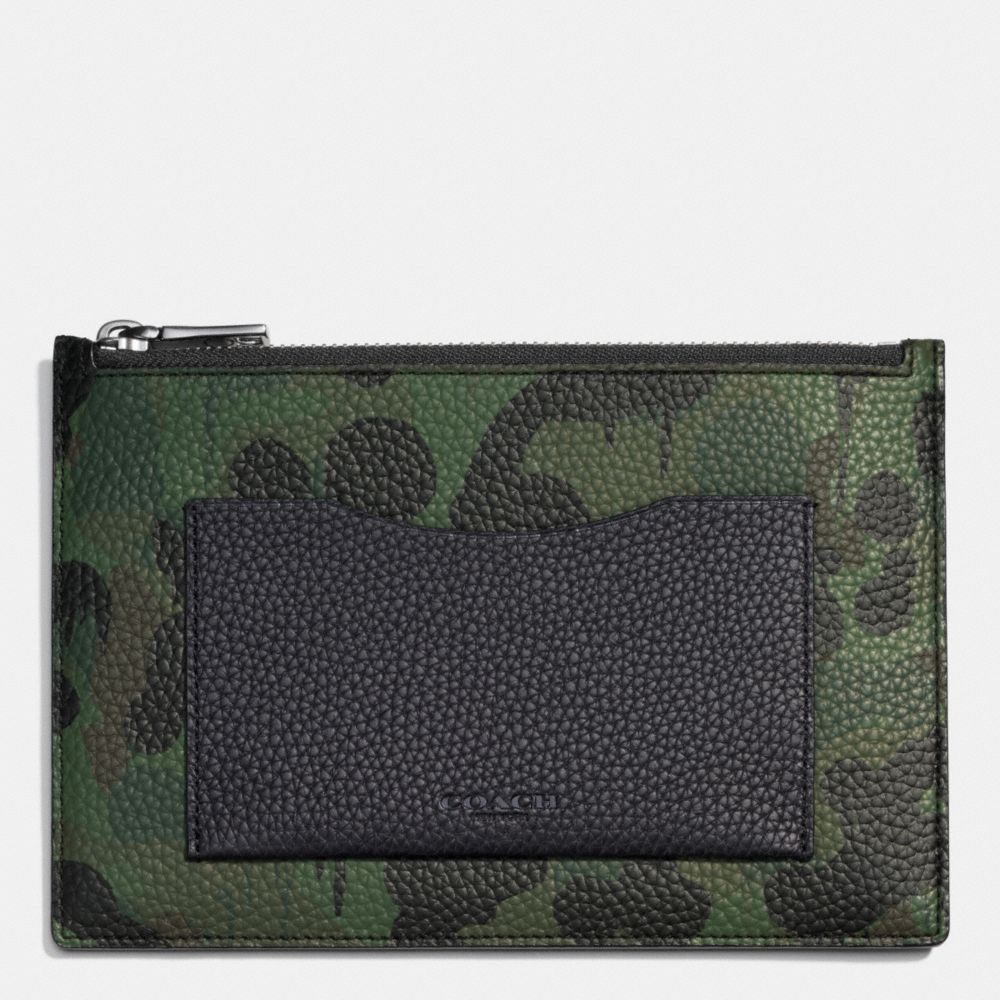 Coach Tech Envelope in Wild Beast Camo Print Pebble Leather