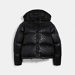SIGNATURE SHORT PUFFER - BLACK - COACH 6533