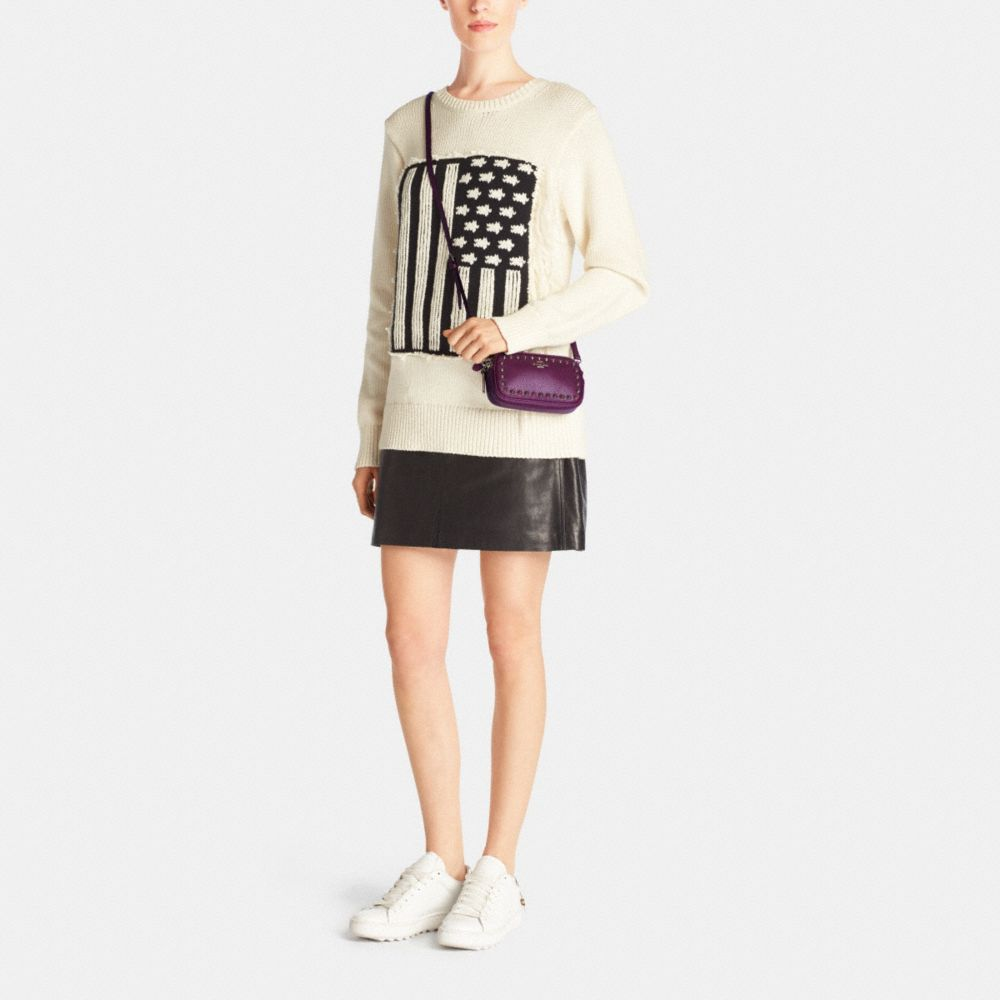 Outline Studs Crossbody Pouch in Pebble Leather - Alternate View M