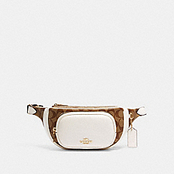 COURT BELT BAG IN SIGNATURE CANVAS - IM/KHAKI/CHALK - COACH 6548