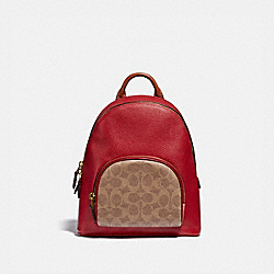 CARRIE BACKPACK 23 IN COLORBLOCK SIGNATURE CANVAS - B4/TAN RED APPLE MULTI - COACH 657