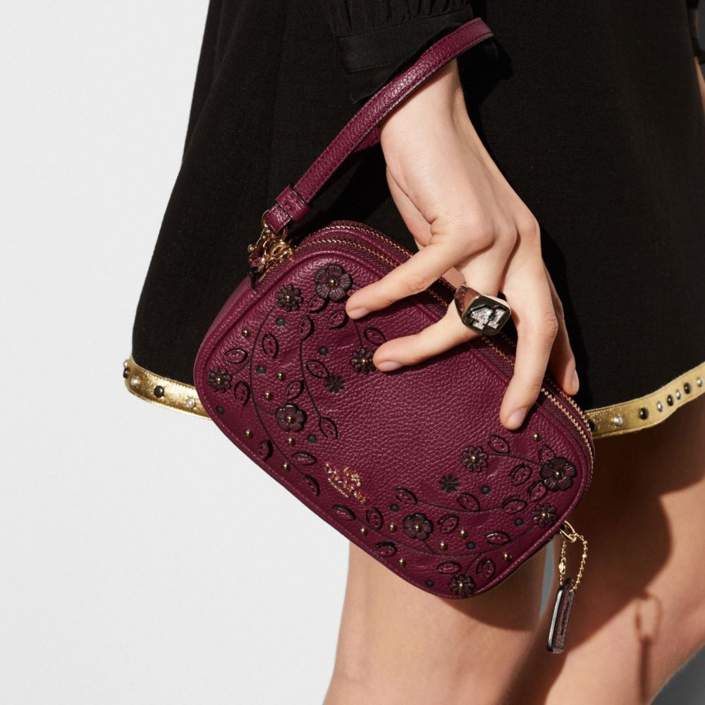 Willow Floral Crossbody Clutch in Pebble Leather - Alternate View A2