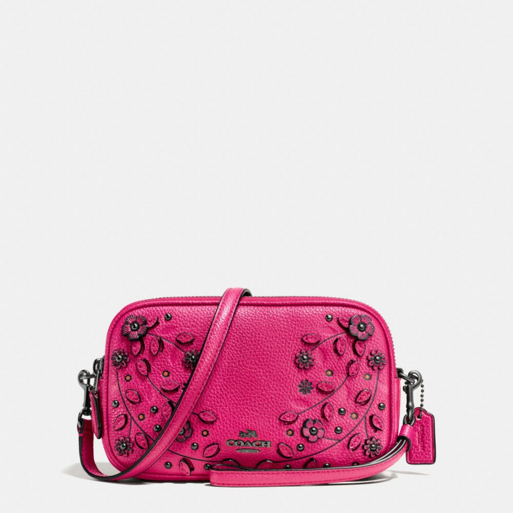WILLOW FLORAL CROSSBODY CLUTCH IN PEBBLE LEATHER