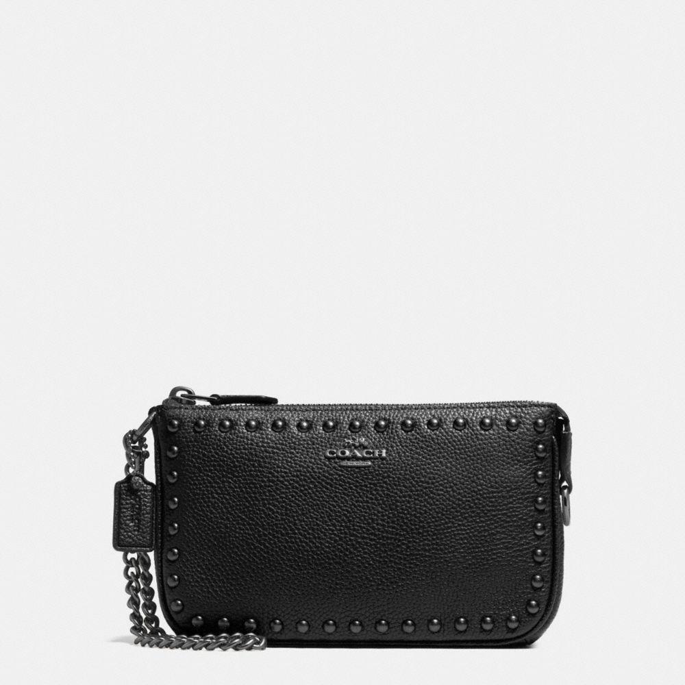Lacquer Rivets Nolita Wristlet 19 in Pebble Leather