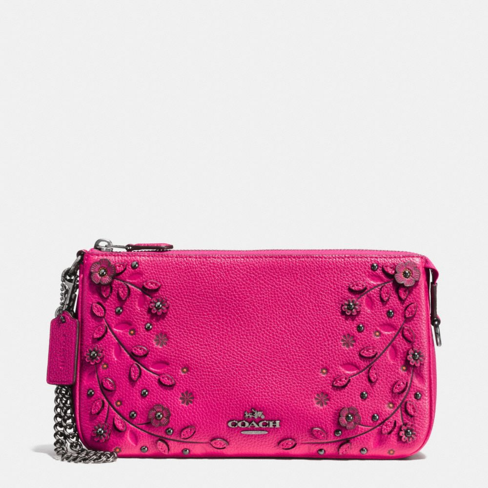 WILLOW FLORAL NOLITA WRISTLET 24 IN PEBBLE LEATHER