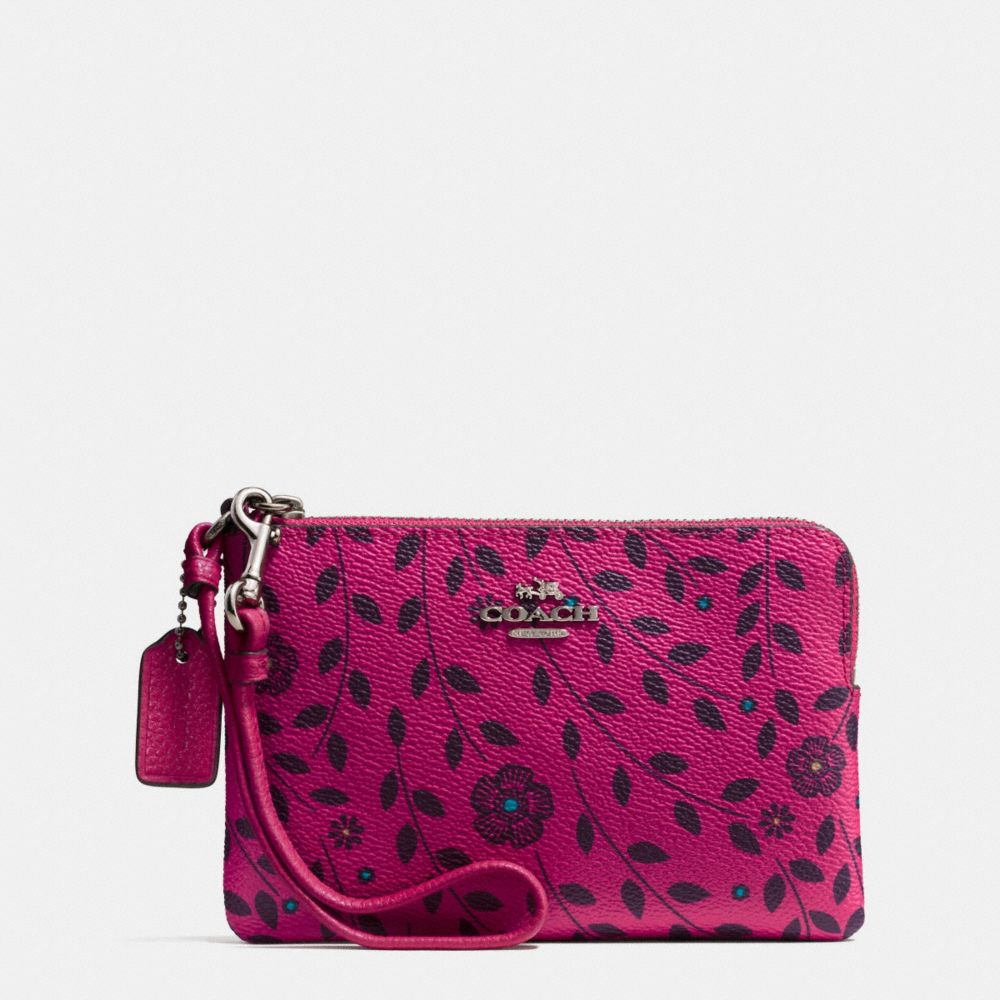 Corner Zip Wristlet in Willow Floral Print Coated Canvas