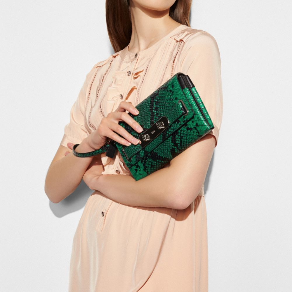 Coach Coach Swagger Clutch in Python Embossed Leather Alternate View 2