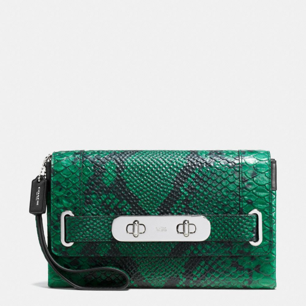 Coach Coach Swagger Clutch in Python Embossed Leather