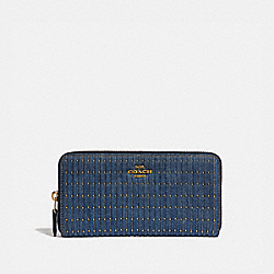 ACCORDION ZIP WALLET WITH QUILTING AND RIVETS - DENIM/BRASS - COACH 66595