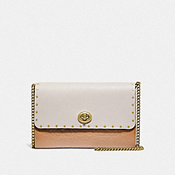MARLOW TURNLOCK CHAIN CROSSBODY IN SIGNATURE LEATHER WITH RIVETS - BRASS/BEECHWOOD - COACH 66610