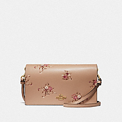 HAYDEN FOLDOVER CROSSBODY CLUTCH WITH FLORAL BUNDLE PRINT - BEECHWOOD FLORAL/GOLD - COACH 66614