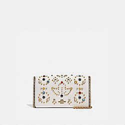 CALLIE FOLDOVER CHAIN CLUTCH WITH RIVETS - CHALK/BRASS - COACH 66624