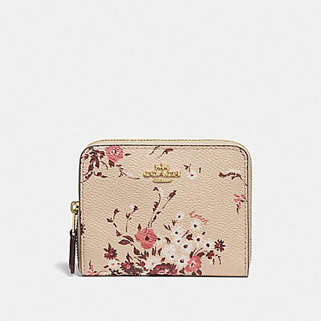 COACH SMALL ZIP AROUND WALLET WITH FLORAL BUNDLE PRINT - GD/BEECHWOOD FLORAL BUNDLE - 66634