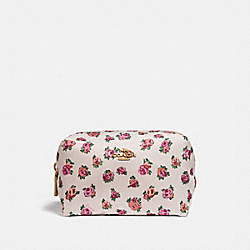 SMALL BOXY COSMETIC CASE WITH MINI VINTAGE ROSE PRINT - CHALK MINI VINTAGE ROSE/GOLD - COACH 66689