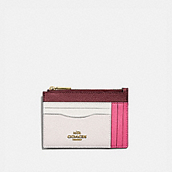 LARGE CARD CASE IN COLORBLOCK - B4/CONFETTI PINK MULTI - COACH 66712