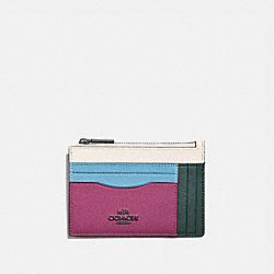 LARGE CARD CASE IN COLORBLOCK - V5/CERISE MULTI - COACH 66712