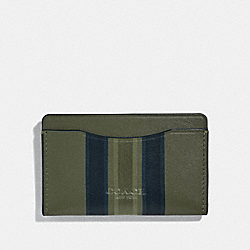 SMALL CARD CASE WITH PAINTED VARSITY STRIPE - GLADE/BLACK/OLIVE - COACH 66768