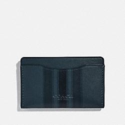SMALL CARD CASE WITH PAINTED VARSITY STRIPE - DENIM/BLACK/DARK DENIM - COACH 66768