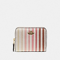 SMALL ZIP AROUND WALLET WITH OMBRE QUILTING - B4/CHALK MULTI - COACH 67120