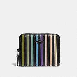 SMALL ZIP AROUND WALLET WITH OMBRE QUILTING - GM/BLACK MULTI - COACH 67120