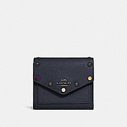 SMALL WALLET WITH RIVETS - MIDNIGHT NAVY/GUNMETAL - COACH 67131