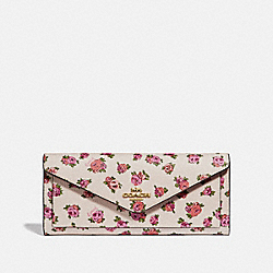 SOFT WALLET WITH MINI VINTAGE ROSE PRINT - CHALK MINI VINTAGE ROSE/GOLD - COACH 67169