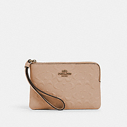 CORNER ZIP WRISTLET IN SIGNATURE LEATHER - IM/TAUPE - COACH 67555
