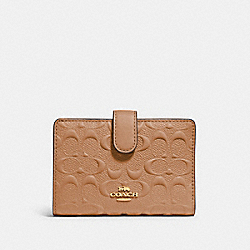 MEDIUM CORNER ZIP WALLET IN SIGNATURE LEATHER - IM/TAUPE - COACH 67565
