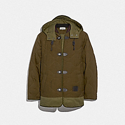 QUILTED MILITARY COAT - GREEN - COACH 67714