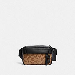 MINI EDGE BELT BAG IN SIGNATURE CANVAS - QB/TAN - COACH 6787