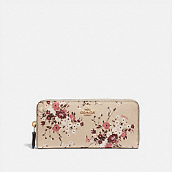 SLIM ACCORDION ZIP WALLET WITH FLORAL BUNDLE PRINT - GD/BEECHWOOD FLORAL BUNDLE - COACH 67983