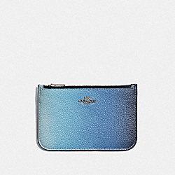 ZIP CARD CASE WITH OMBRE - BLUE MULTI/SILVER - COACH 68004