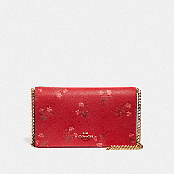 LUNAR NEW YEAR CALLIE FOLDOVER CHAIN CLUTCH WITH FLORAL BOW PRINT - JASPER/GOLD - COACH 68190