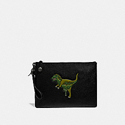 TURNLOCK POUCH WITH REXY - BLACK - COACH 68248