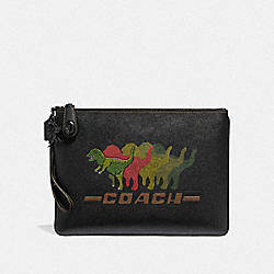TURNLOCK POUCH WITH REXY - BLACK - COACH 68249