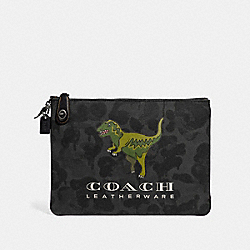 TURNLOCK POUCH WITH REXY - GRAPHITE - COACH 68251