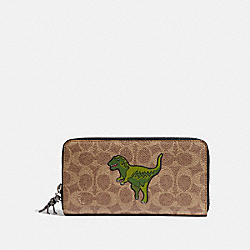 ACCORDION WALLET IN SIGNATURE CANVAS WITH REXY - KHAKI - COACH 68252