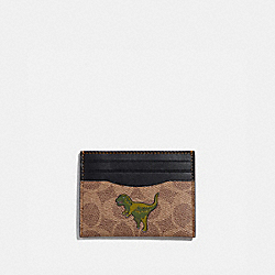 CARD CASE IN SIGNATURE CANVAS WITH REXY - KHAKI - COACH 68253