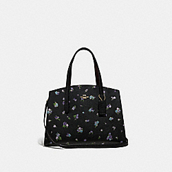 CHARLIE CARRYALL WITH FLORAL PRINT - BLACK/GOLD - COACH 68290