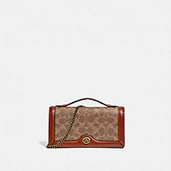 RILEY CHAIN CLUTCH IN COLORBLOCK SIGNATURE CANVAS - B4/TAN RUST - COACH 68312
