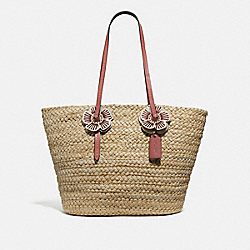 WOVEN TOTE WITH TEA ROSE - STRAW/LIGHT PEACH/BRASS - COACH 68610