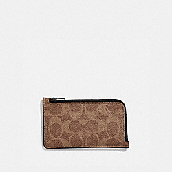 L-ZIP CARD CASE IN SIGNATURE CANVAS - KHAKI - COACH 68975