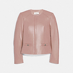 TAILORED LEATHER JACKET - POWDER PINK - COACH 69019