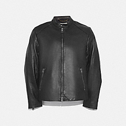 LEATHER RACER JACKET - BLACK - COACH 69167
