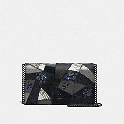 CALLIE FOLDOVER CHAIN CLUTCH WITH SIGNATURE PATCHWORK - CHARCOAL SLATE MULTI/PEWTER - COACH 69189
