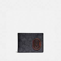 SLIM BILLFOLD WALLET IN SIGNATURE CANVAS WITH COACH PATCH - CHARCOAL/SPORT BLUE - COACH 69218