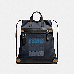 ACADEMY DRAWSTRING BACKPACK IN COLORBLOCK - MIDNIGHT NAVY/BLACK COPPER - COACH 69325