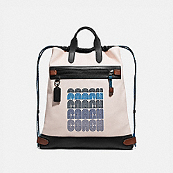 ACADEMY DRAWSTRING BACKPACK IN COLORBLOCK - CHALK/BLACK/BLACK COPPER - COACH 69325