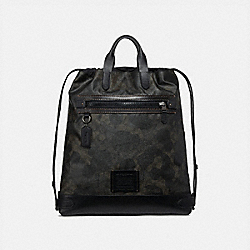 ACADEMY DRAWSTRING BACKPACK IN SIGNATURE CANVAS WITH WILD BEAST PRINT - GREEN WILD BEAST SIGNATURE/BLACK COPPER - COACH 69329