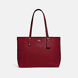 CENTRAL TOTE WITH ZIP - GOLD/DEEP RED - COACH 69424